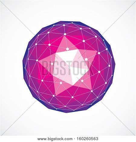 Abstract Vector Low Poly Object With Black Lines And Dots Connected. Purple 3D Origami Futuristic Fo