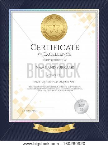 Elegant portrait certificate template for excellence achievement appreciation or completion on blue border background