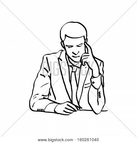 illustration vector doodles hand drawn young businessman touching his temple and looking down trouble concept