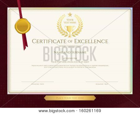Elegant certificate template for excellence achievement appreciation or completion on red border background