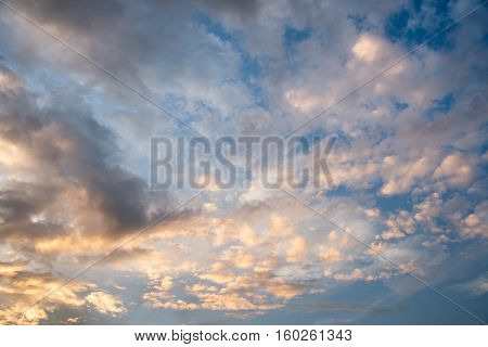 Abstact sky with clouds Beautiful sunset sky background
