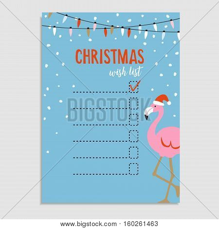 Cute Christmas card, wish list. Flamingo with Santa hat, string of lights and snow. Hand drawn vector illustration background.