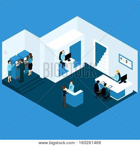 Isometric credit issuing bank room composition with office venue information desk worker operator characters atm clients vector illustration
