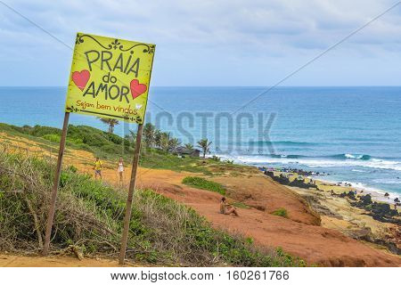 PIPA, BRAZIL, JANAURY - 2016 - Landscape scene at Praia do Amor beach at Pipa a watering place located in Brazil