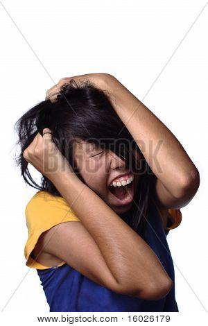 Frustrated asian teen girl