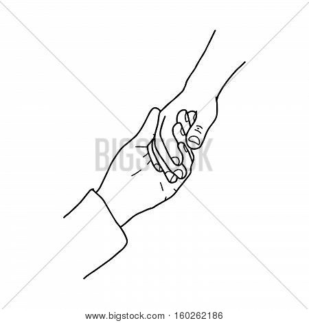 illustration vector doodles hand drawn holding hands