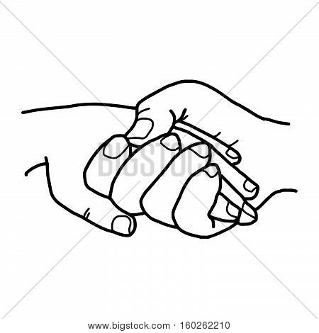 illustration vector doodles hand drawn two people holding hands love concept