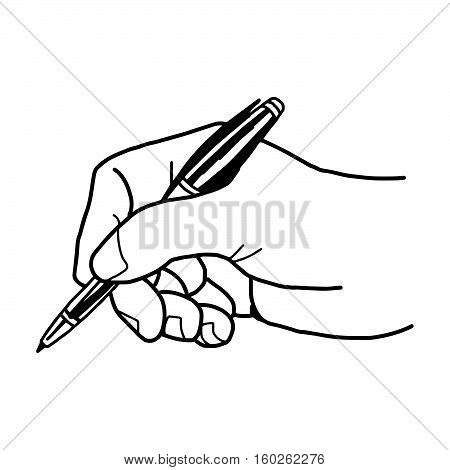 Vector illustration of a hand is writing with ballpoint pen