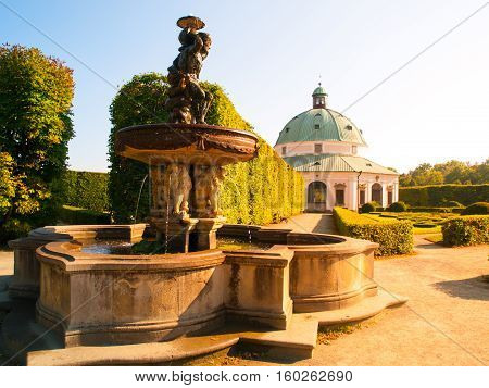 Kromeriz Flower Garden with water fountain and baroque rotunda, UNESCO World Cultural and Natural Heritage, Kromeriz, Moravia Czech Republic