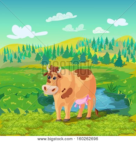 Cartoon farm animals background with grazing cow in green summer field landscape grass and gradient sky vector illustration