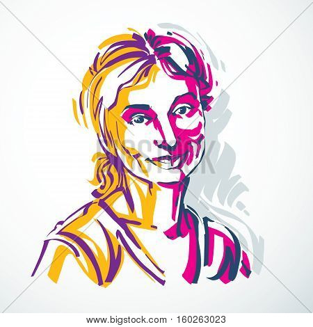 Vector Portrait Of Attractive Woman, Facial Expressions Of Young Lady. Art Illustration In Minimalis