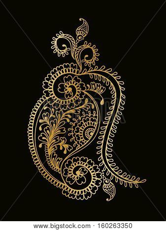 Hand drawn paisley ornament of floral elements for henna tattoo, golden stickers, mehndi flash temporary tattoo.Traditional indian style, doodles collection, monochrome.Vector illustration.