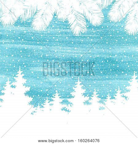 Christmas And Happy New Year Greeting Card. Hand Drawn Watercolor Winter Holidays Landscape Backgrou