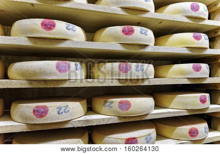 Aging Comte Cheese In Ripening Cellar Franche Comte