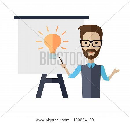 Successful young man with glasses making a presentation near whiteboard with infographics. Coaching and shows business charts and graphs. Business seminar. Board at a presentation with information