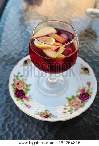 spanish famous traditional fruity sangria gourmet cocktail drink