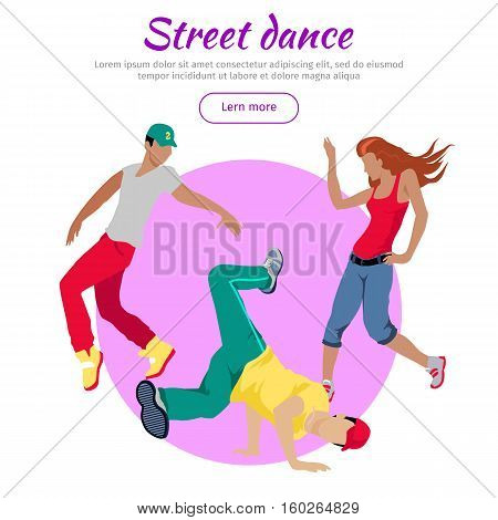 Street dance concept web banner. Flat style vector. Three break dancers, two man and girl dancing.  Contemporary choreography. For dancing school, party, event, festival web page landing design