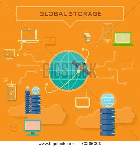Global storage web banner in flat style. Cloud information saving. Servers, globe, satellite, computer networks icons. Illustration for video presentation or corporate ad animation clip