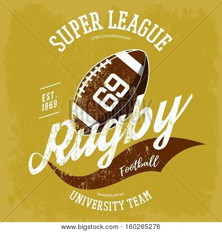 Rugby ball logo for t-shirt branding design. Super rugby league banner or sportswear gear, shirt clothing or uniform cloth.For athletic sport equipment, team logotype, rugby ball graphic or cloth print
