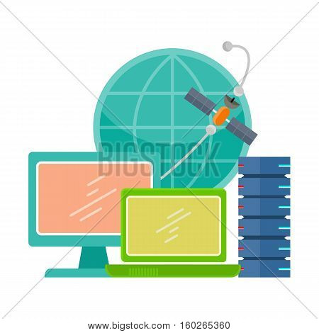 Internet communication concept flat style vector. World networking technologies. Data server, laptop, monitor, globe, satellite illustrations for hosting company, cloud services ad. Isolated on white