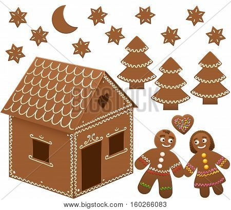 Gingerbread house with trees, moon and stars. Isolated vector illustration on white background.