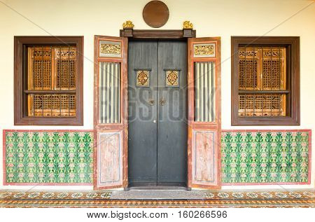 Old buildings Sino Portuguese style in Phuket town Thailand. architectural style is European mixed with Chinese modern