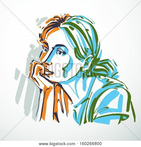 Vector Illustration Of Young Elegant Dreamy Female, Art Image. Colorful Portrait Of Attractive Lady,