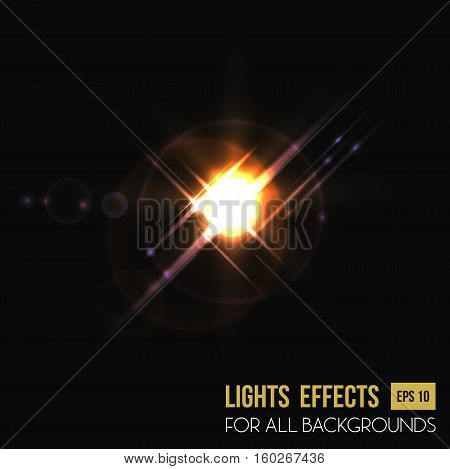 Flare background or backdrop, camera lens light effect. Glowing halo light effect or lens burst effect for flyer background. For sun flare poster or sunlight from sunrise backdrop, abstract star light