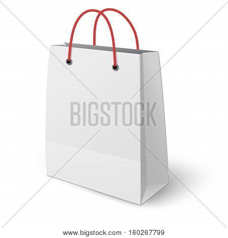 Classic paper shopping bag elongated vertically with red rope handles