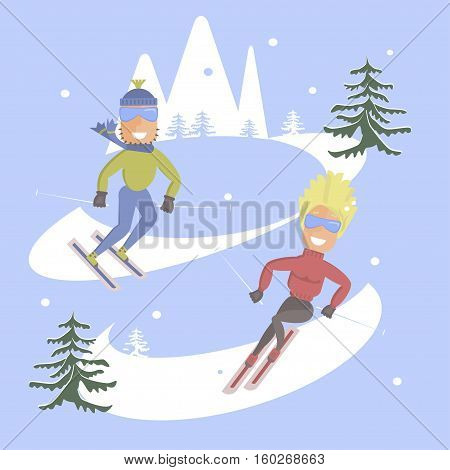 Comic concept flat design. People skiing. Skis isolated, skier and snow, season in mountain, cold downhill, recreation lifestyle, activity speed winter sportextreme illustration