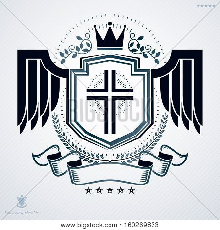 Heraldic Vintage Vector Design Element With Wings. Retro Style Label Created Using Religious Cross A
