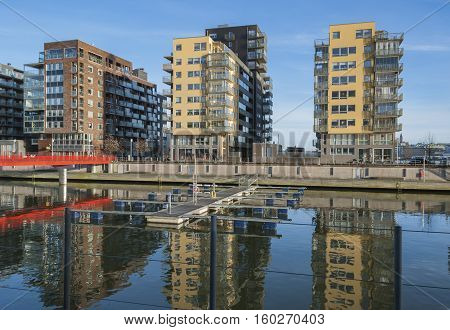 New housing area by the river in Gothenburg Sweden