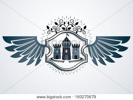 Vintage Decorative Heraldic Vector Emblem Composed With Eagle Wings And Medieval Stronghold