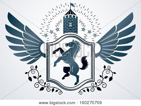 Vintage Decorative Heraldic Vector Emblem Composed With Horse Illustration And Medieval Tower