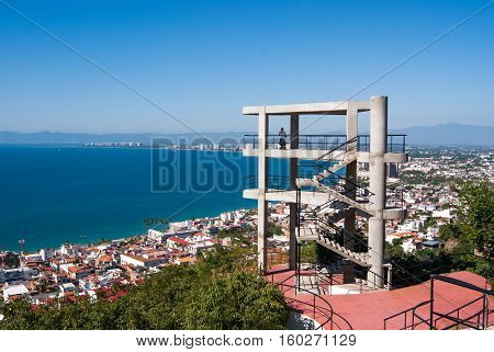 The viewing tower on top of a hill in Puerto Vallarta
