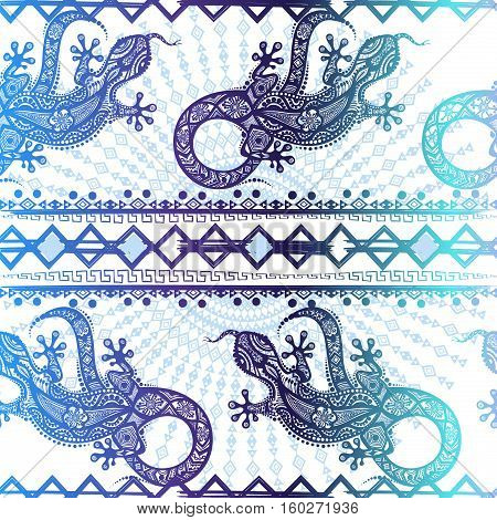 Vector vintage seamless ethnic pattern image lizards and lines, to be applied to any surface, can be used for a textile, coloring book, prints, phone case and card. Australian and Indian ornament