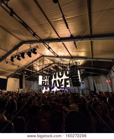 NEW YORK, NY - JUNE 18, 2016: Bingo Players presents Bingo Beach at Governors Club on Governors Island, June 18, 2016 in New York City.  Crowd of fans at the concert.