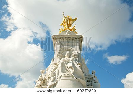 Architecture of Queen Victoria Memorial Statue at Buckingham Palace, London England UK