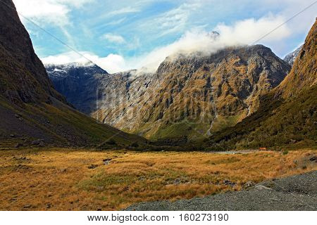 New Zealand Fiordland Mountain Landscape at the Milford Sound