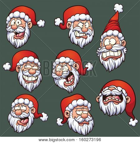 Cartoon Santa Claus emoticons. Vector clip art illustration with simple gradients