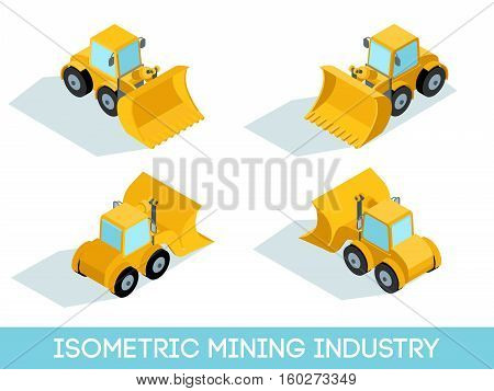 Isometric 3D mining industry icons set 1 image of mining equipment and vehicles isolated vector illustration.
