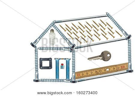 Plans to build a small house. Model home of the screws. Mortgage to build a house. Plan architect. Isolated on white.
