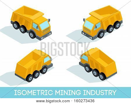 Isometric 3D mining industry icons set 2 image of mining equipment and vehicles isolated vector illustration.