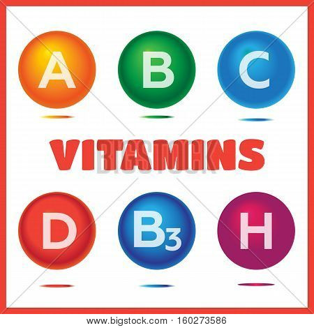 Vitamins chemical structures. Molecule sign vector set