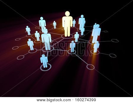 Social network concept with pictorial people