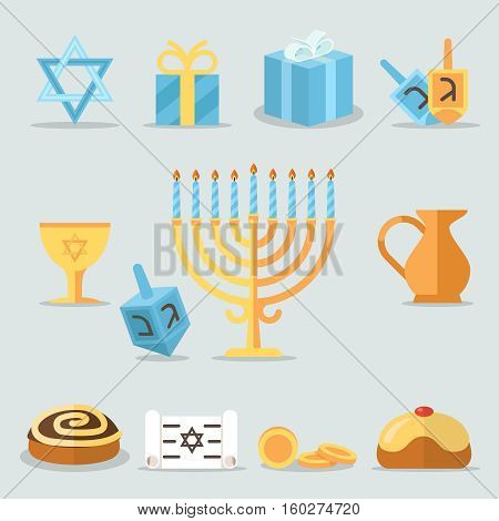 Jewish holidays hanukkah flat icons with menorah candles and happy hanukkah ribbon. Illustration of elements for hanukkah