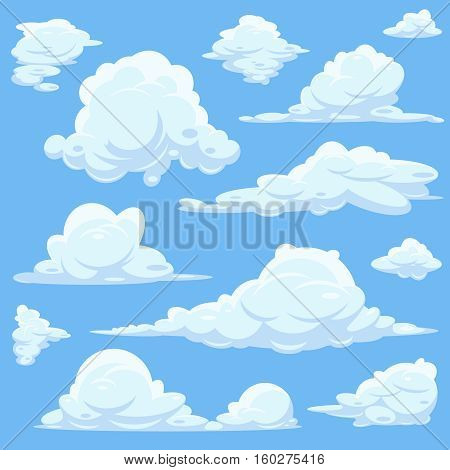 Vector cartoon clouds in blue sky. Set of white clouds, heaven with fluffy cloid illustration