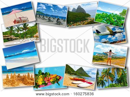 Collage from views of the Caribbean beaches of Saint Martin, Lucia