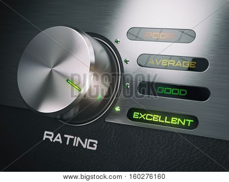 Level of quality service, satisfaction, customer loyalty concept. Knob in highest excellent position. 3d illustration
