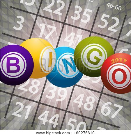 Bingo Balls Twenty Seventeen Over Abstract Background with Card Numbers